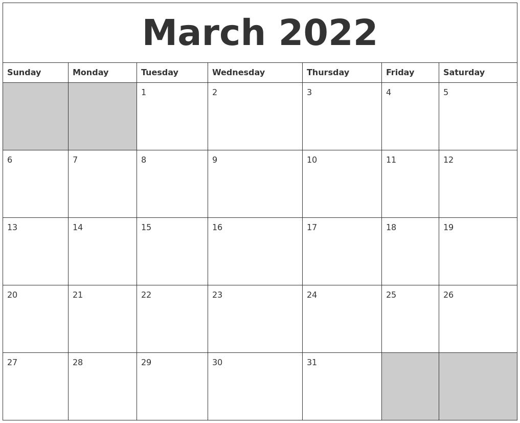 March 2022 Blank Printable Calendar