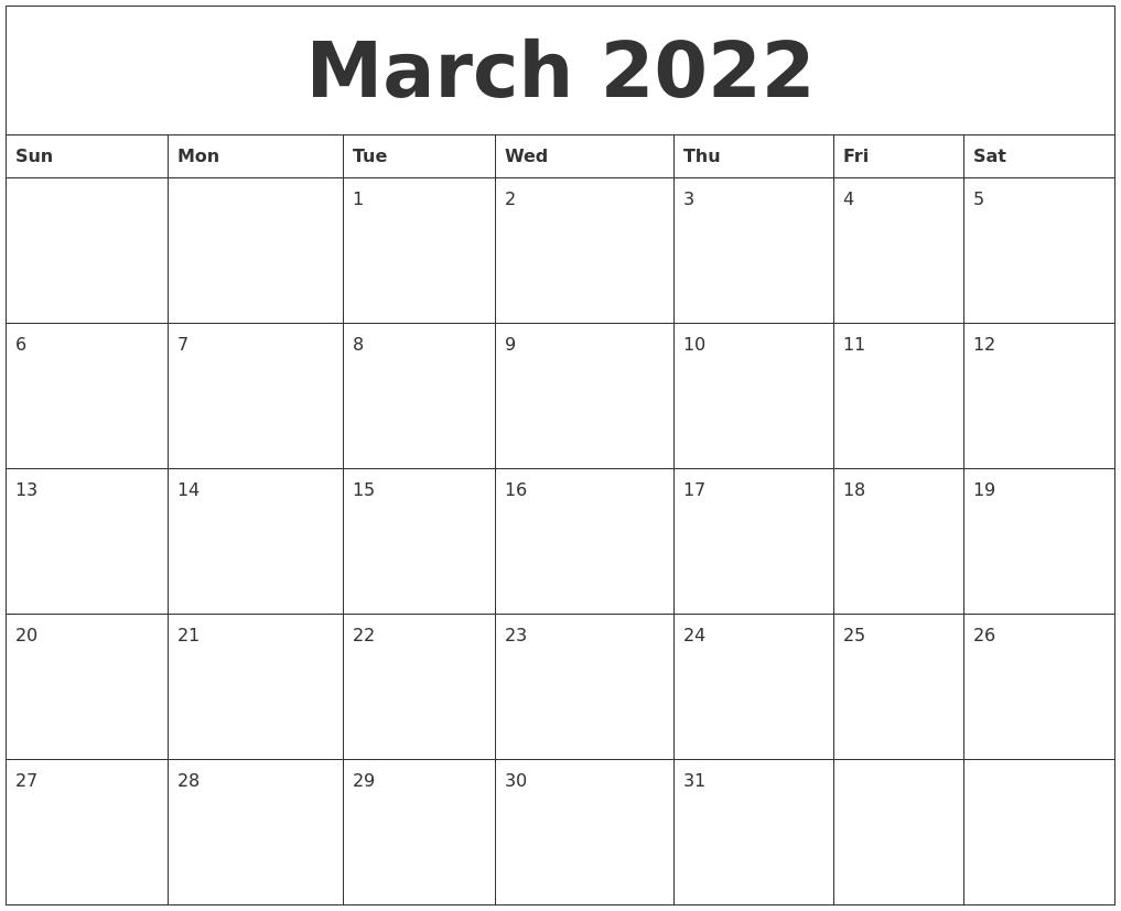 March 2022 Calendar Month