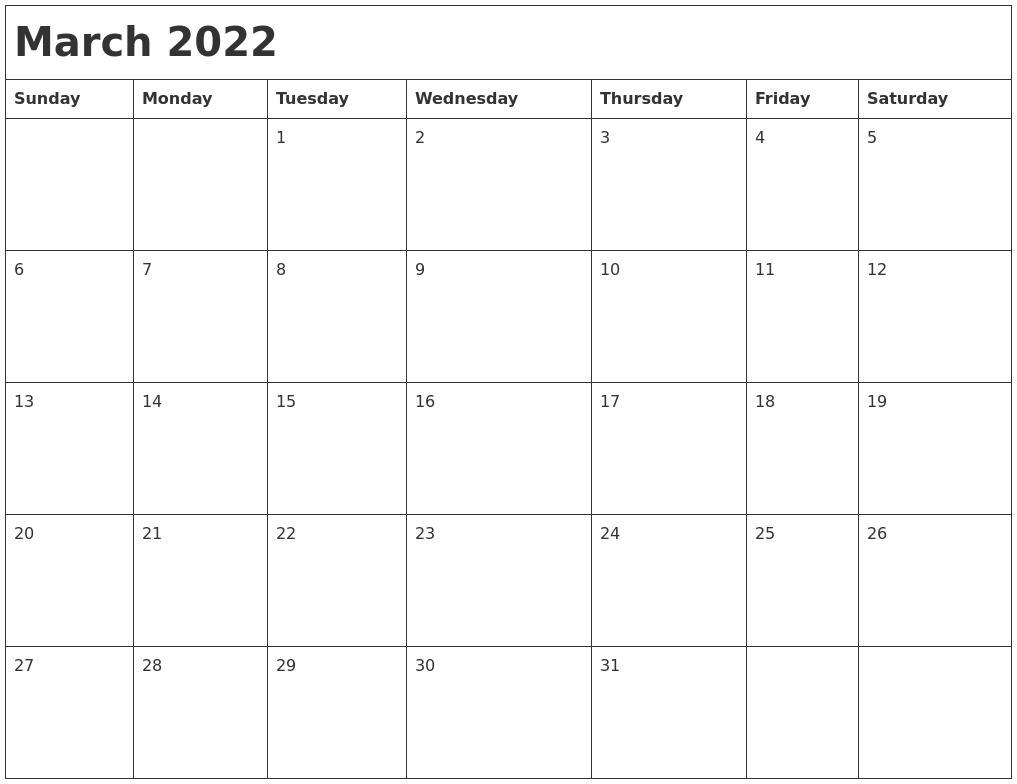March 2022 Month Calendar