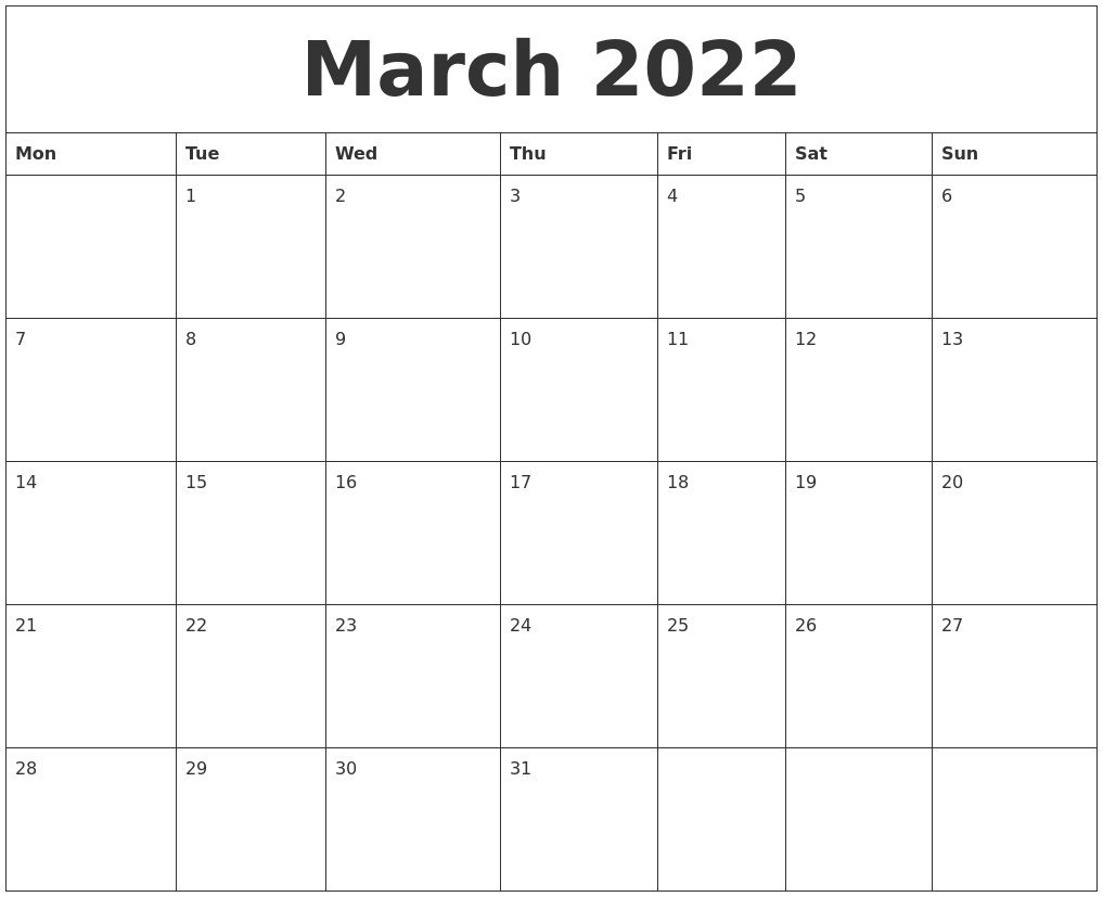 March 2022 Online Printable Calendar