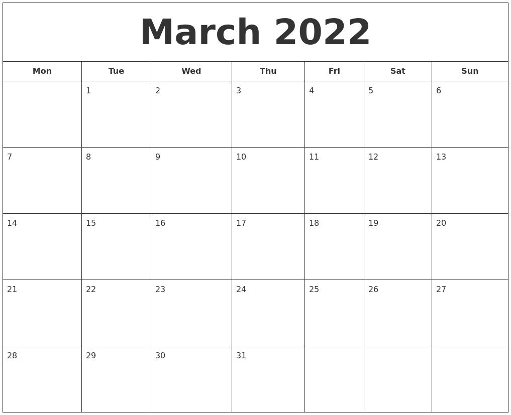 March 2022 Printable Calendar
