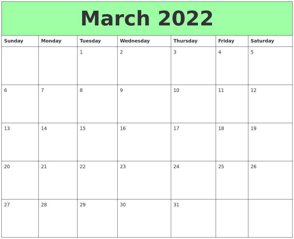 March 2022 Printable Calendars