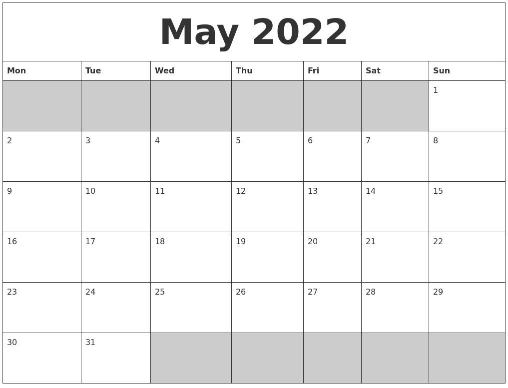 May 2022 Blank Printable Calendar