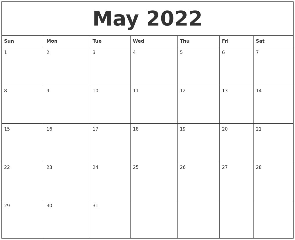 May 2022 Calendar Pages