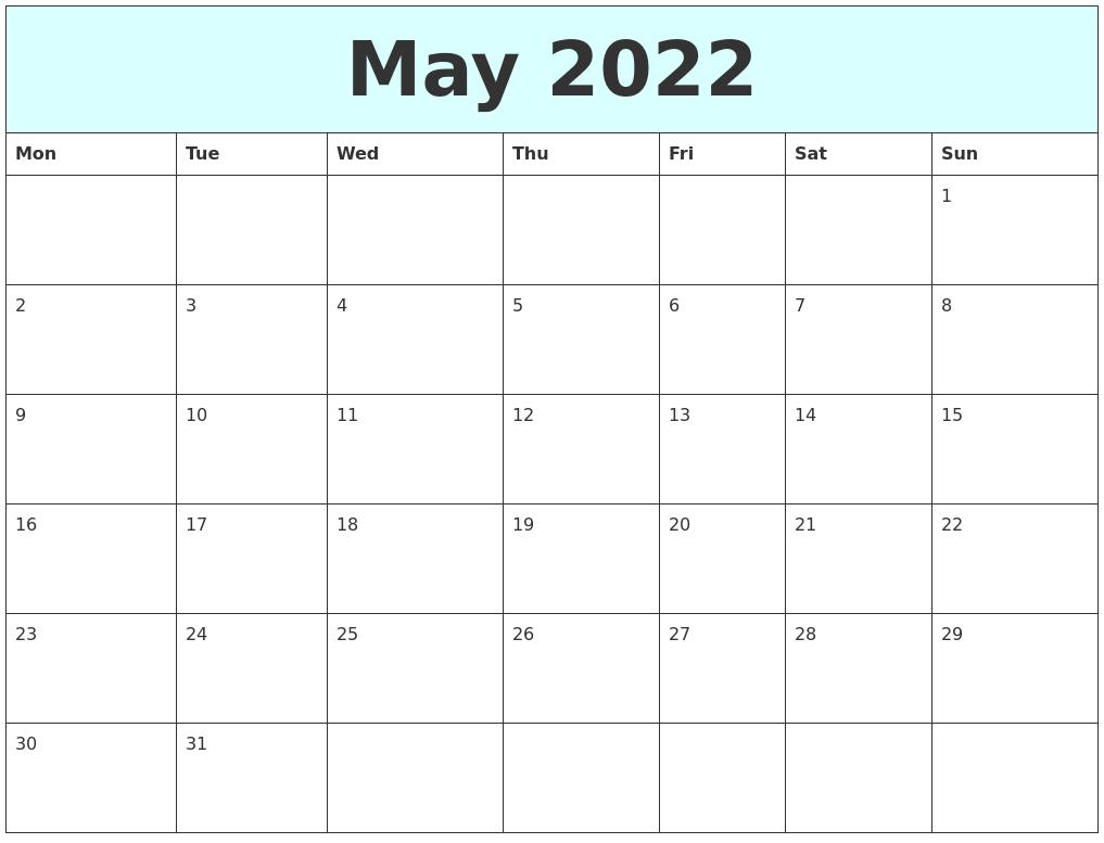 May 2022 Free Calendar