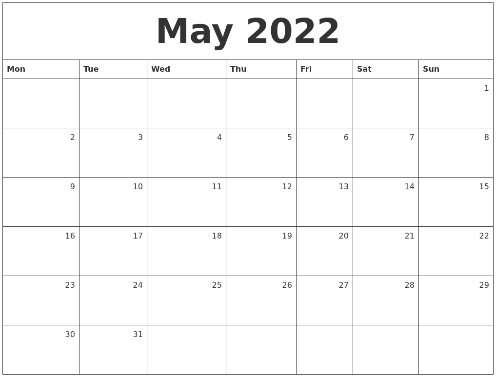 free april 2022 calendar printable template. May 2022 Monthly Calendar