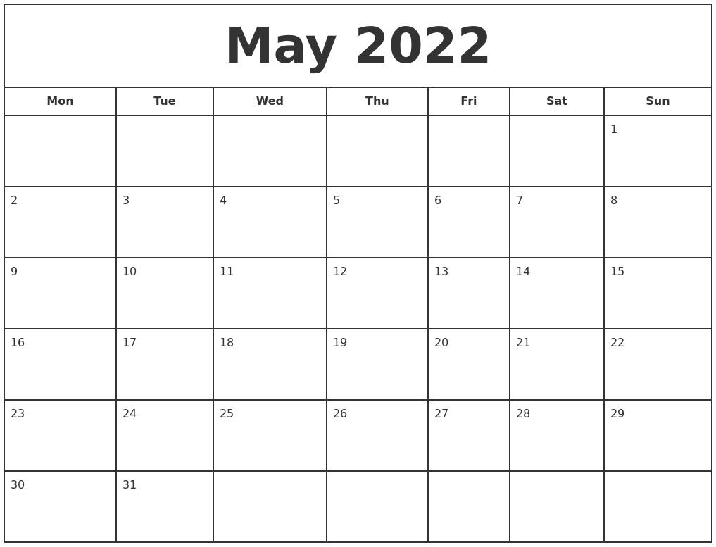 May 2022 Print Free Calendar