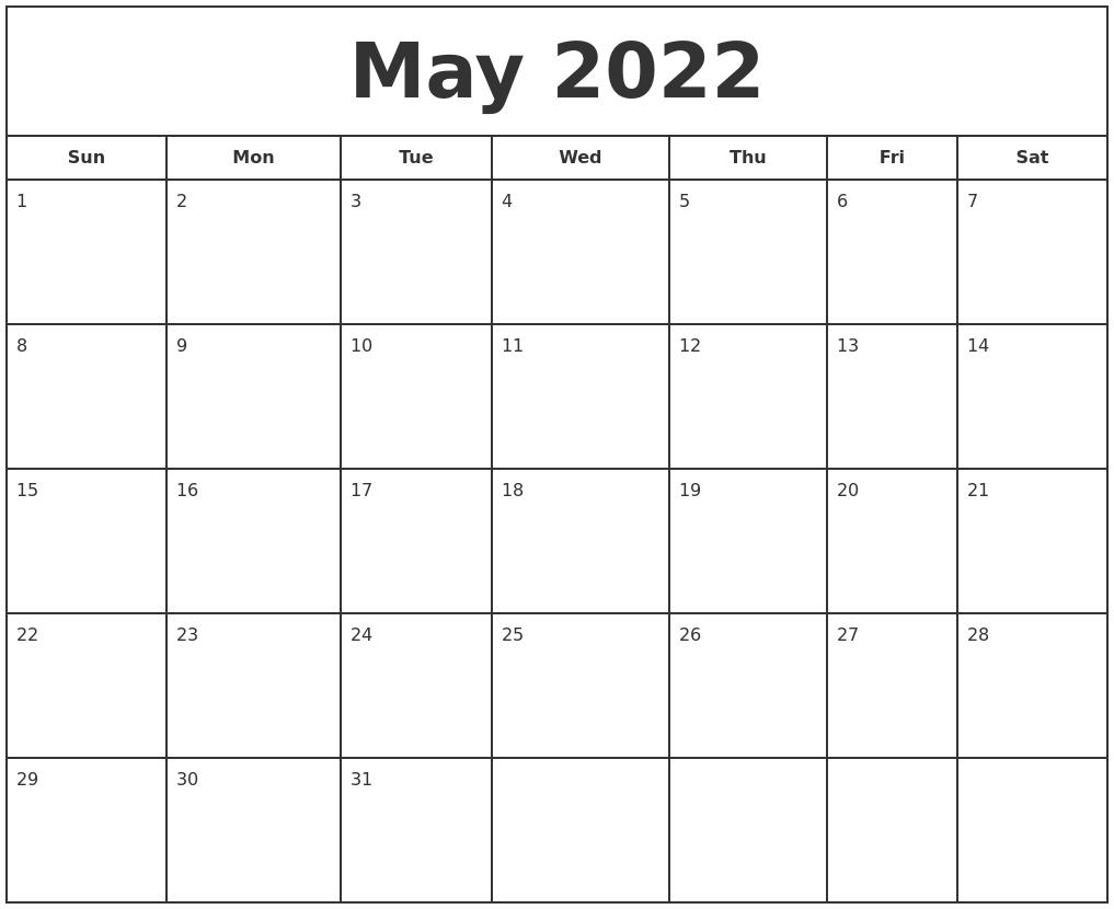 August 2022 Blank Monthly Calendar