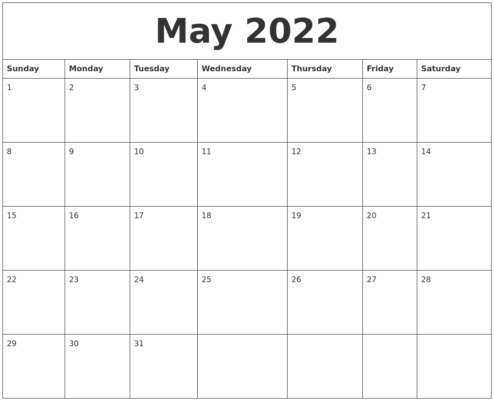 May 2022 Print Monthly Calendar