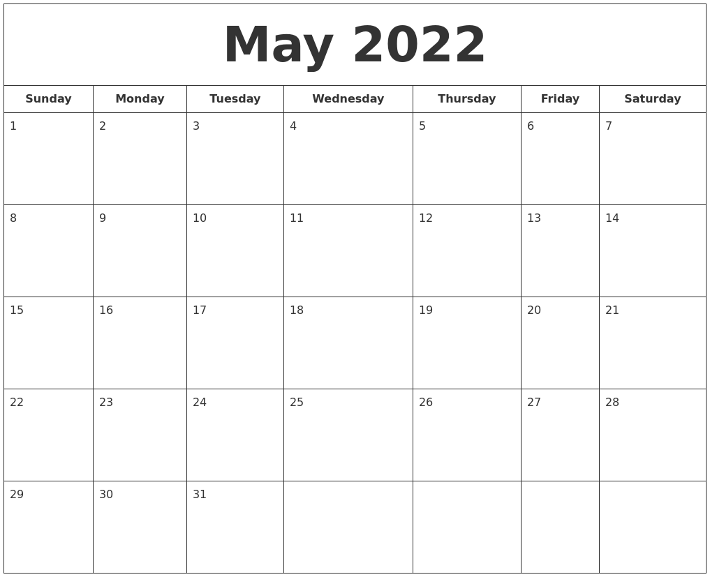 Time rules our lives, with appointments and deadlines guiding us through our days. May 2022 Printable Calendar