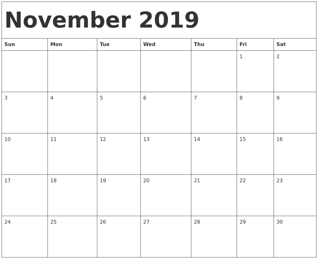 Editable Weekday Calendars Print