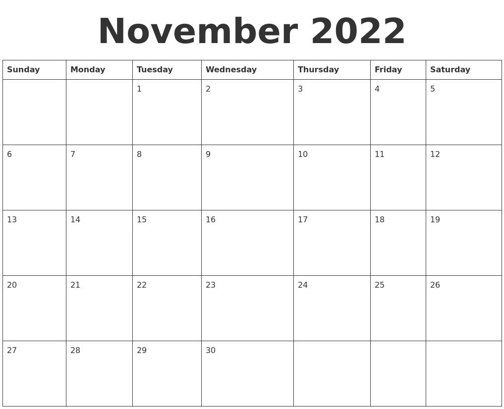 November 2022 Blank Calendar Template