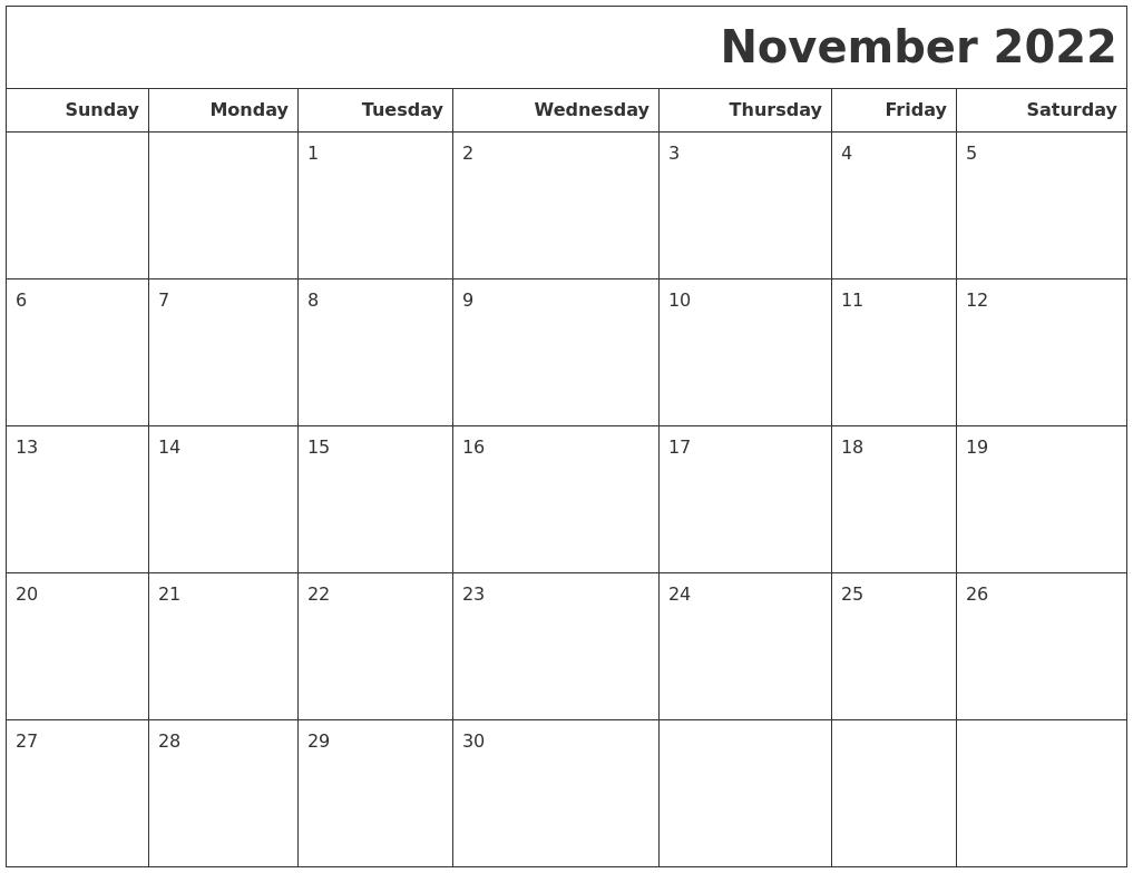 November 2022 Calendars To Print