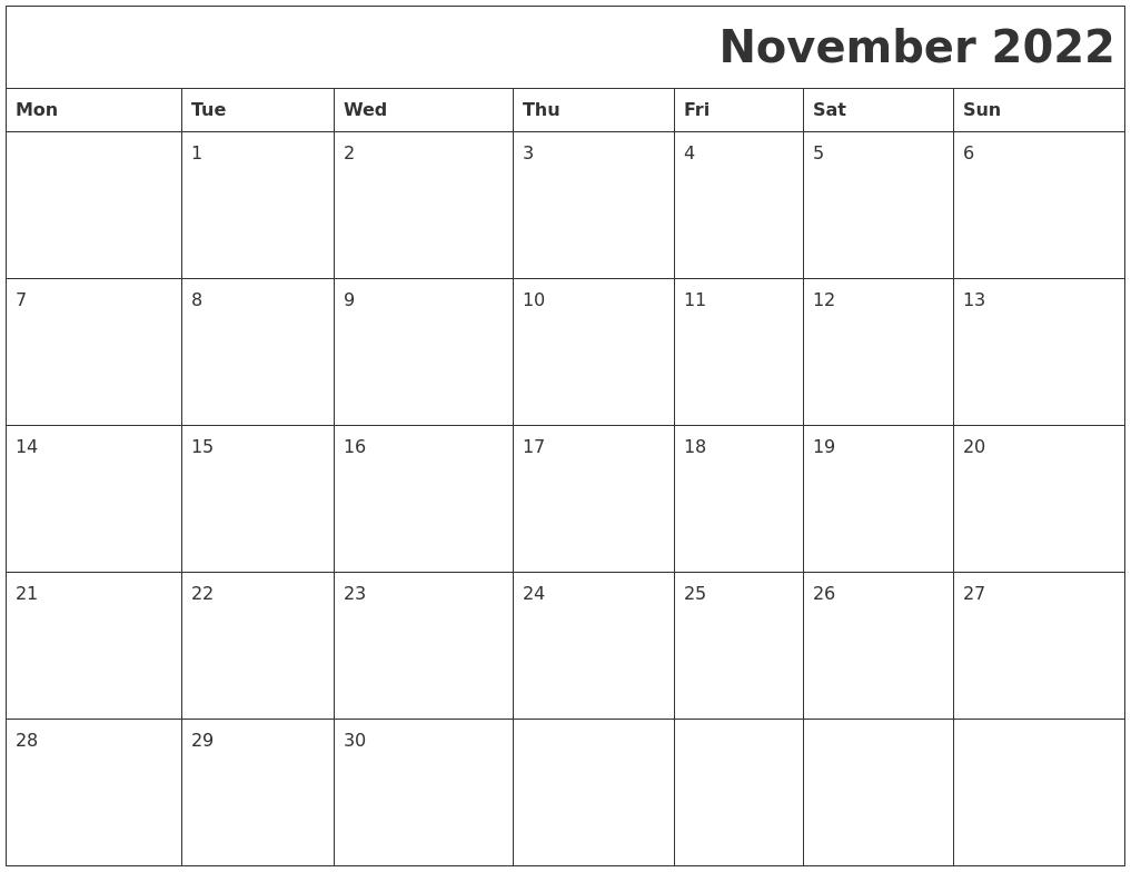 November 2022 Download Calendar