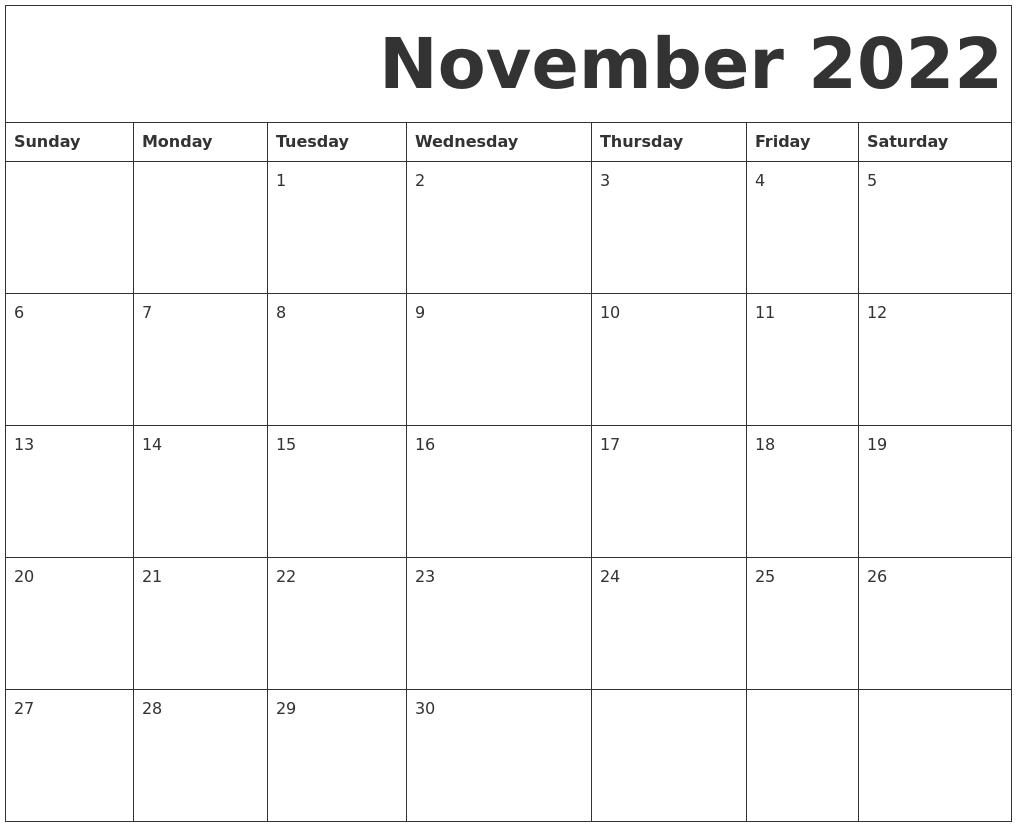 November 2022 Free Printable Calendar