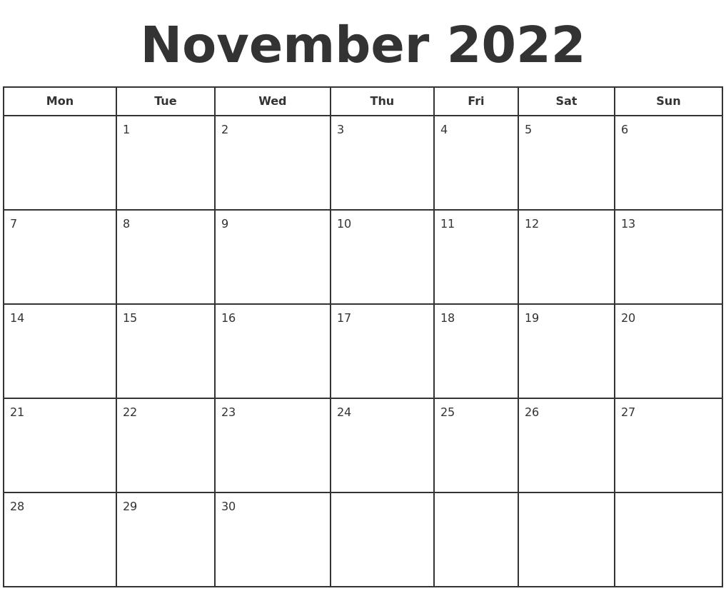 November 2022 Print A Calendar