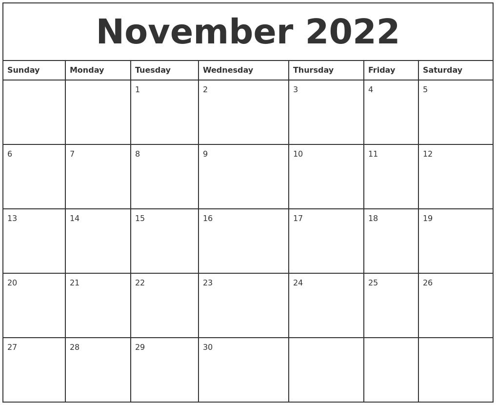 November 2022 Printable Monthly Calendar