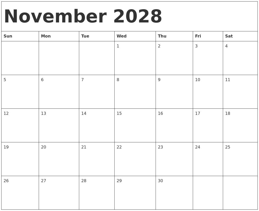 2019 Blank October Calendar Printable