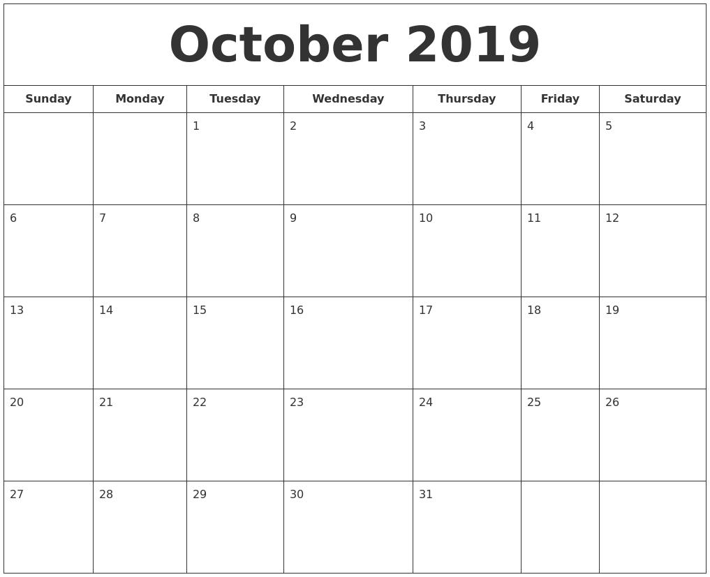 october 2019 calendar printable