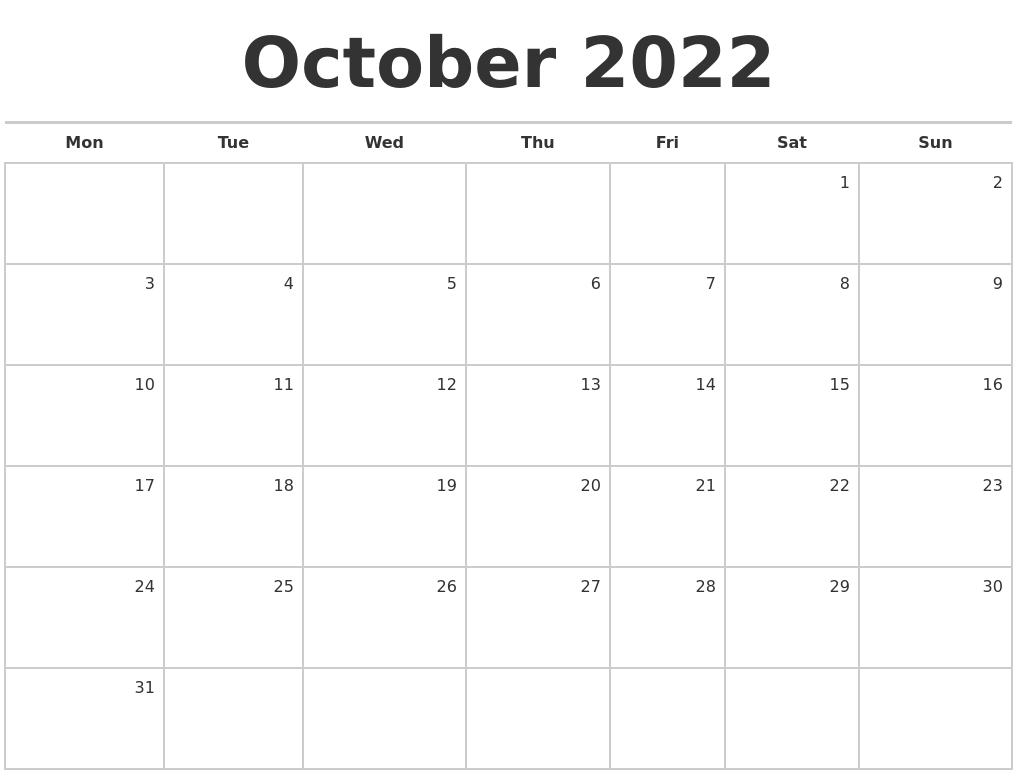 October 2022 Blank Monthly Calendar