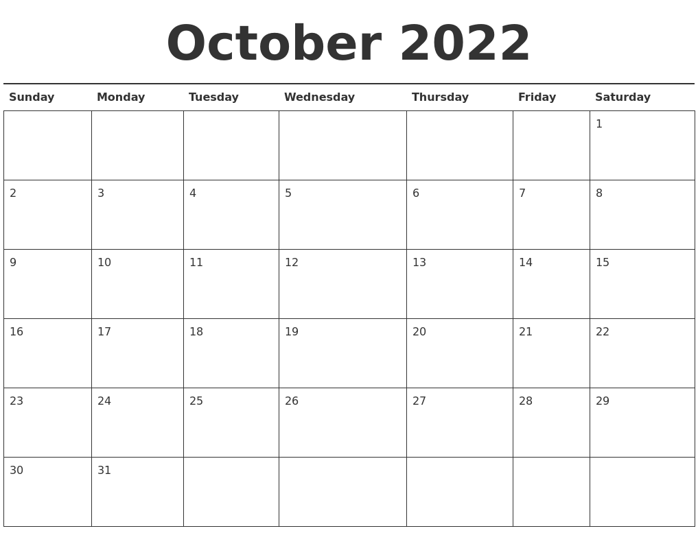 Time rules our lives, with appointments and deadlines guiding us through our days. October 2022 Calendar Printable