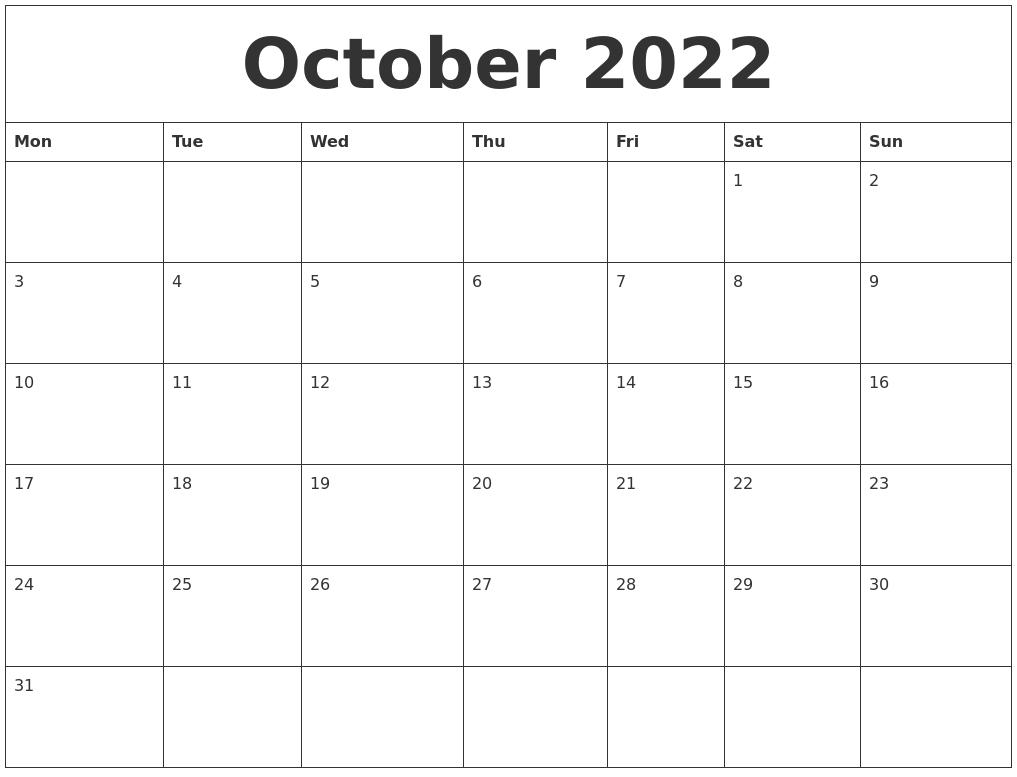 October 2022 Free Calendar Printable