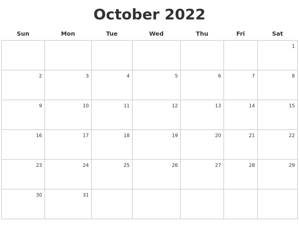 October 2022 Make A Calendar