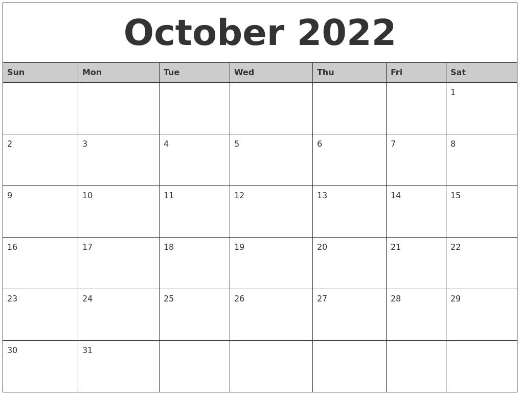 October 2022 Monthly Calendar Printable