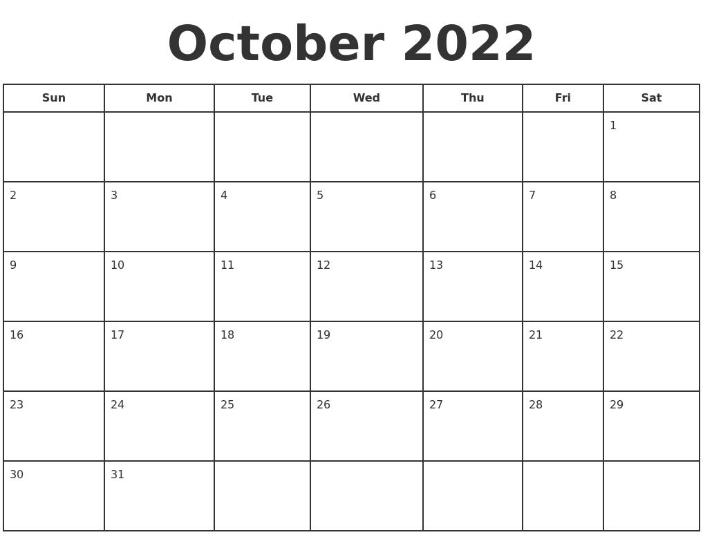 October 2022 Print A Calendar