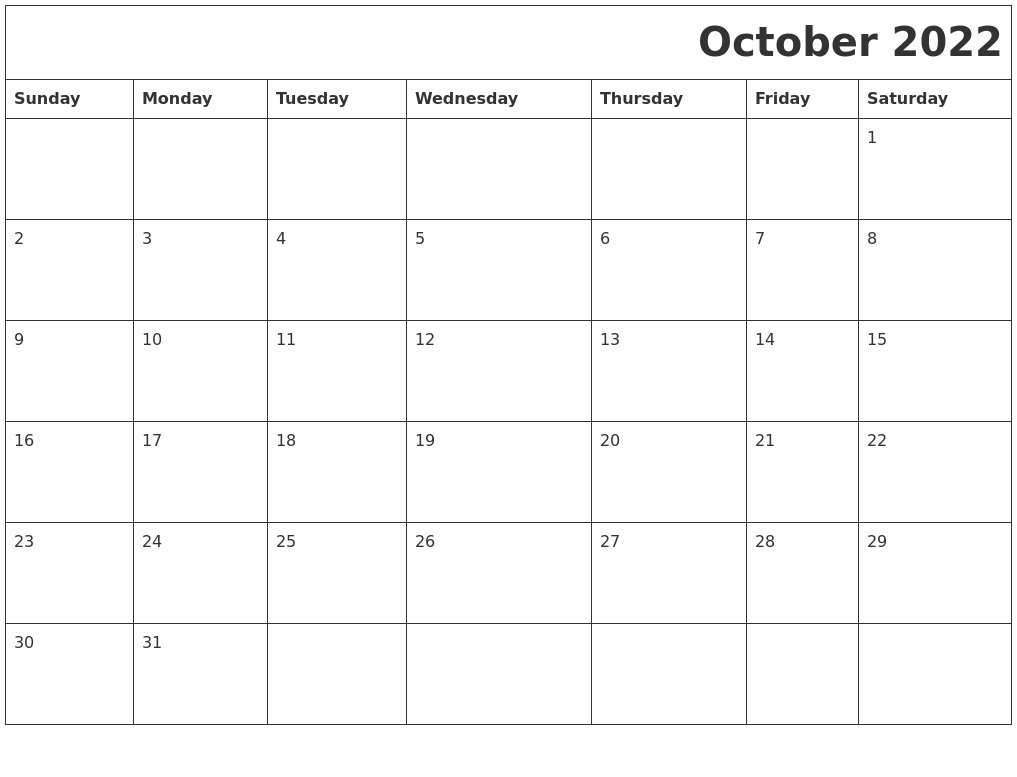 October 2022 Printable Calender