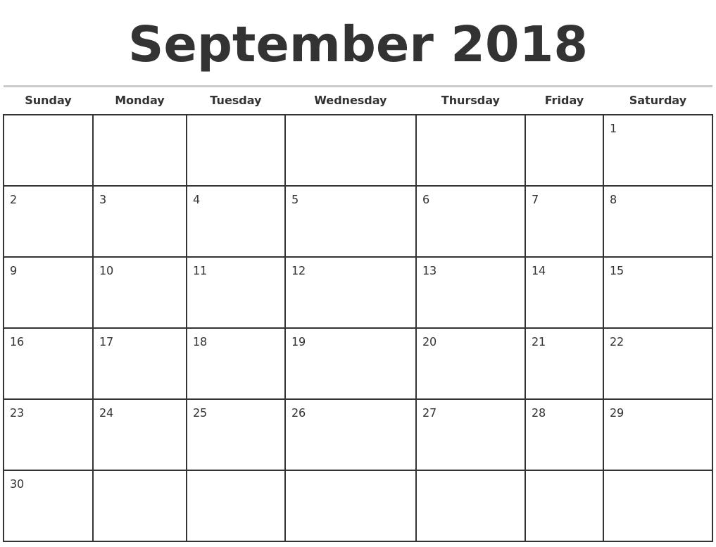 2018 Printable Monthly Calendar Template
