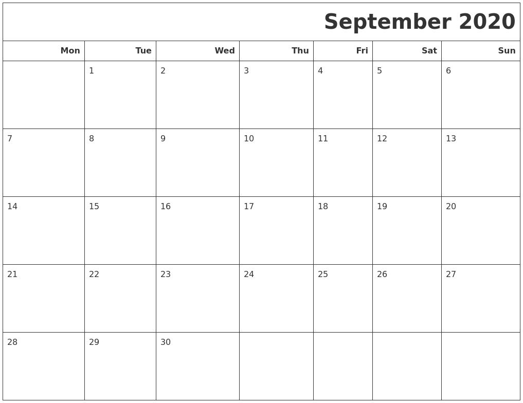 September 2020 Calendars To Print