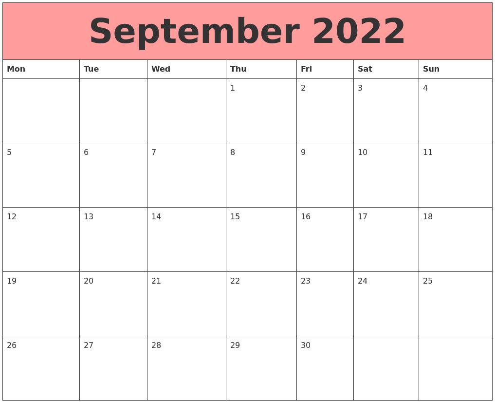 September 2022 Calendars That Work