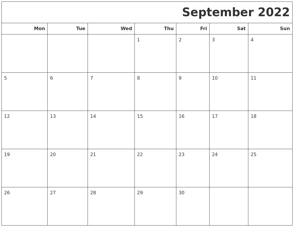 We are very sure that you might have liked our collection of images templates here. September 2022 Calendars To Print