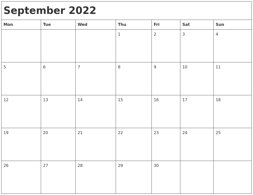 September 2022 Month Calendar