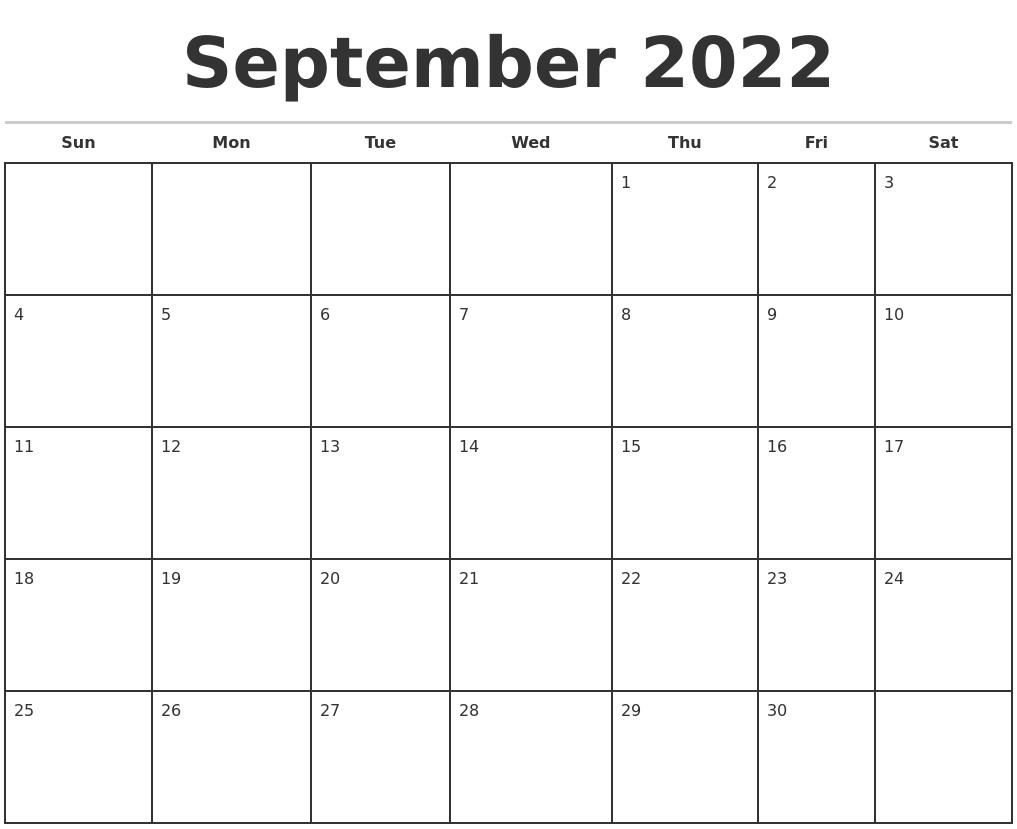 October 2022 Month Calendar