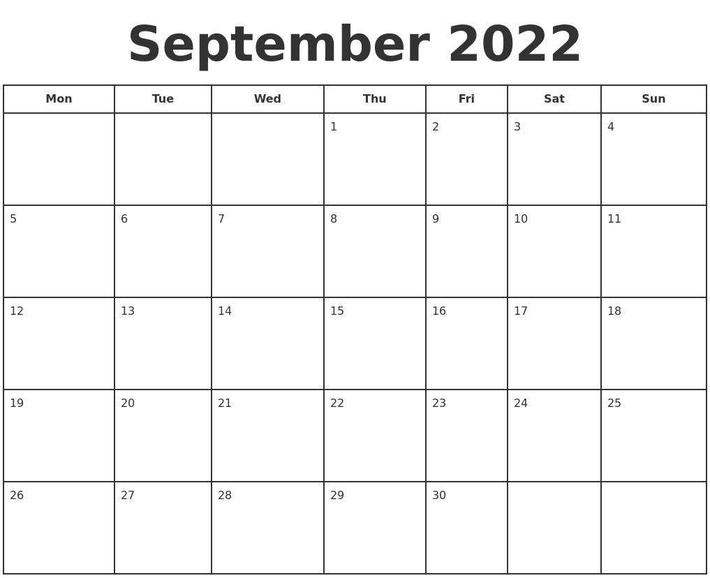 September 2022 Print A Calendar