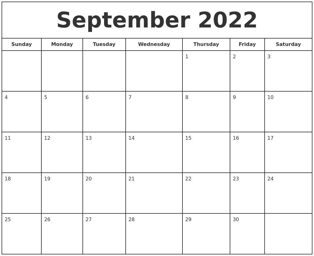 September 2022 Print Free Calendar