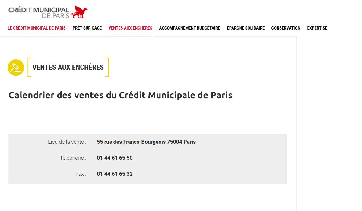 Calendrier des ventes du Crédit Municipale de Paris