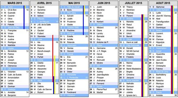 calendrier scolaire 2015