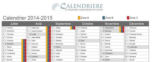 Calendrier Vacances scolaires 2014 2015
