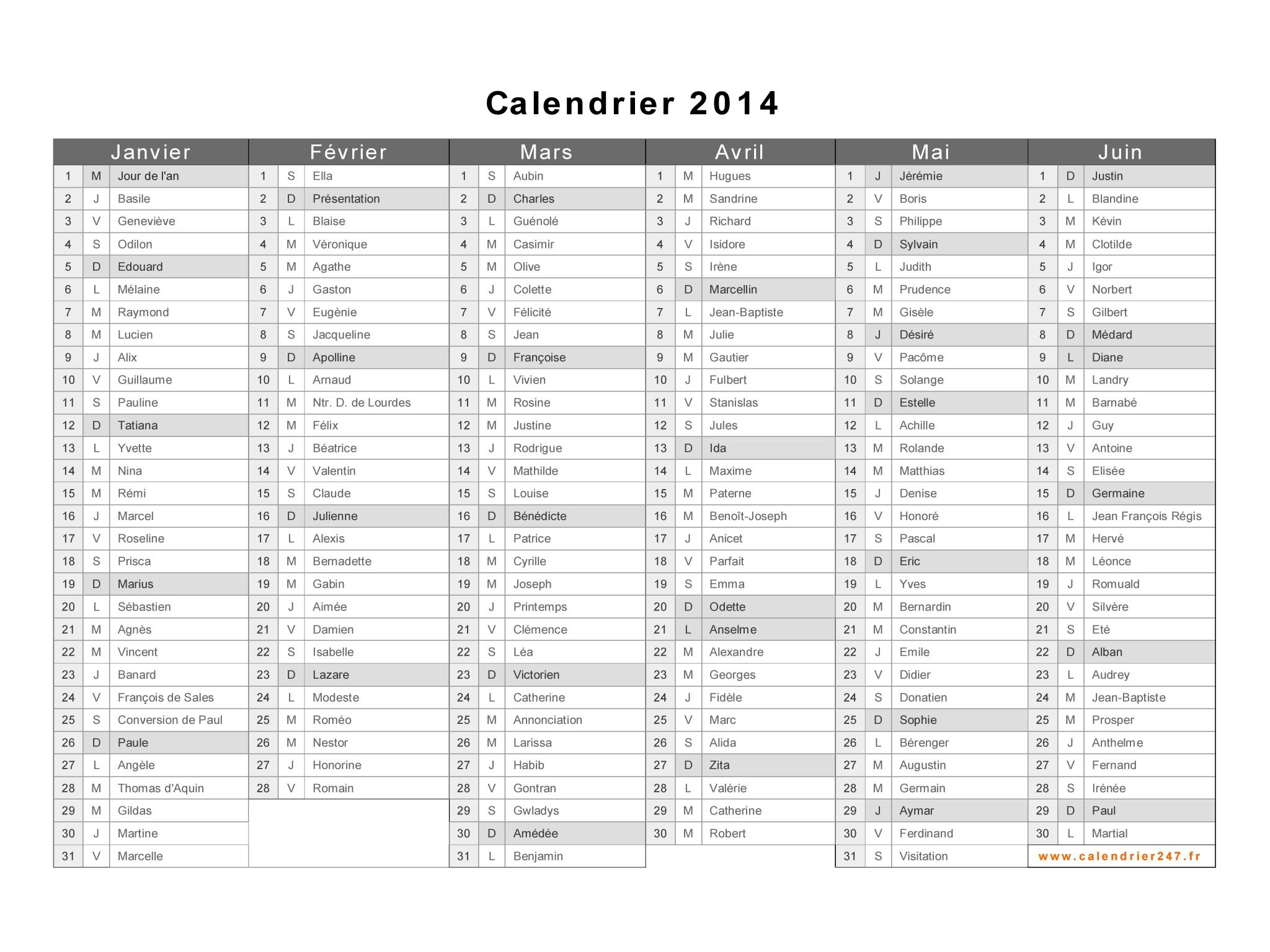 Calendrier 2014 à imprimer gratuit en PDF et Excel