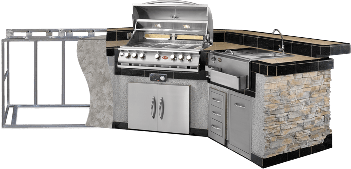 bbq kitchen sink waste disposal outdoor kitchens islands grills carts fireplaces cal flame new island cut out