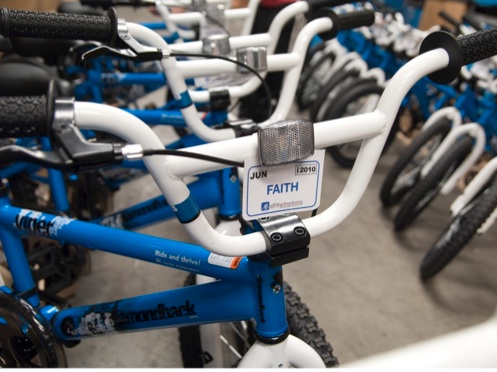 One of almost 70 bikes given away to students at Fresno's Susan B. Anthony Elementary School.