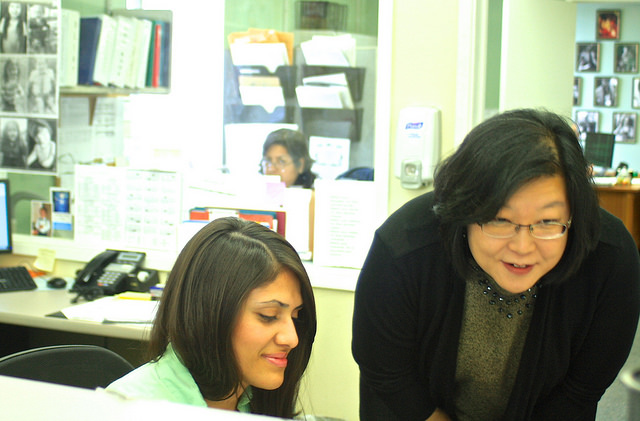 Ellen Ahn, right, at work at KC Services, one of Orange County's first drug and alcohol rehab programs to begin treating patients referred by Medi-Cal under the Affordable Care Act. Photo: Caitlin Whelan.