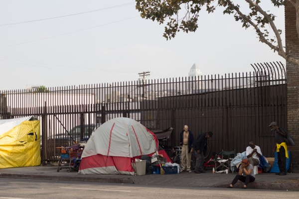 Morning on Skid Row in downtown L.A.