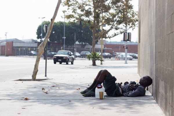Napping on sidewalks is a regular occurrence on Skid Row.