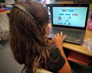 A student in Elizabeth Marquez's fourth grade class completes an activity on one of the classroom computers. Students at Miramonte Elementary School in Clovis are encouraged to develop technology skills.