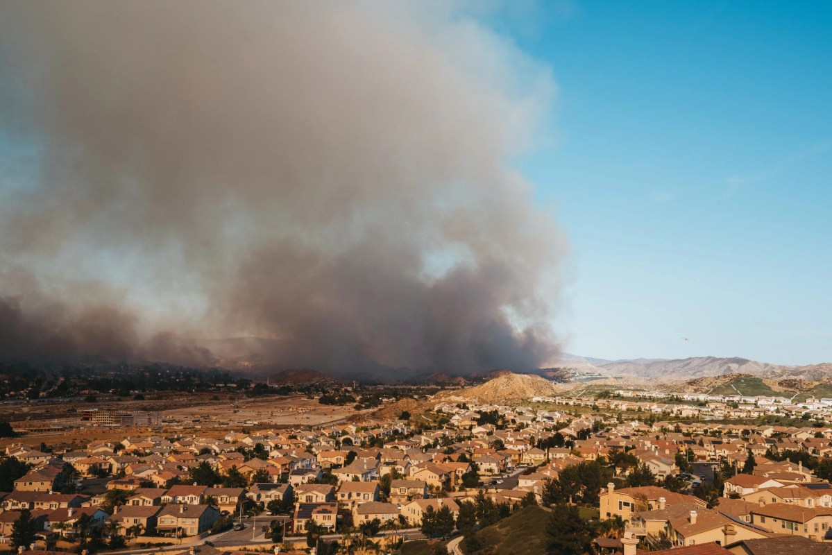 California wildfire near houses