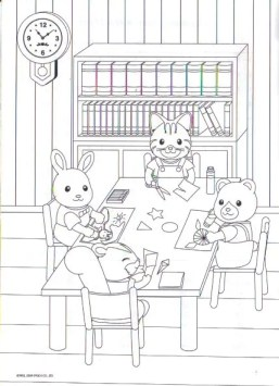 Calico-Critters-Schoolwork Coloring Page